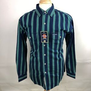 Dickies Mens Long Sleeve Striped Button Down Shirt